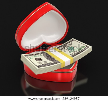 Dollars in the heart box (clipping path included)
