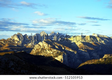 Dolomites Mountains at sunset.Italy.October 2016.