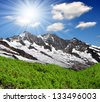 Dom and Taschhorn - Swiss alps - stock photo