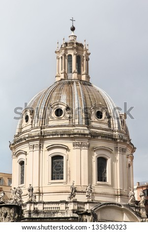 Dome of The Church of the Most Holy Name of Mary at the Trajan Forum - Santissimo Nome di Maria al Foro Traiano. Rome, Italy.