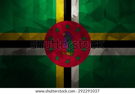 dominica grunge flag. Vintage and retro style. low polygon texture backgorund