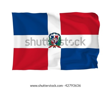 Dominican Island. High resolution North American Flag series. With fabric texture.
