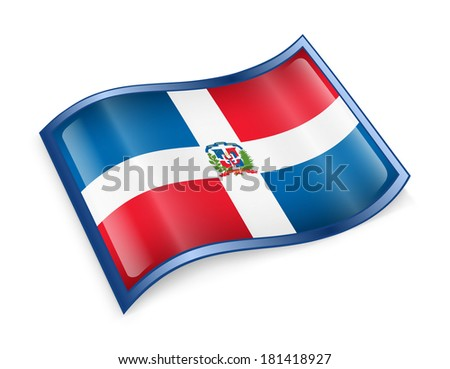 Dominican Republic Flag icon, isolated on white background.