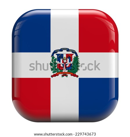 Dominican republic flag square icon image isolated on white. Clipping path included.
