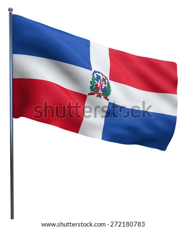 Dominican Republic flag waving image isolated on white. Clipping path included.