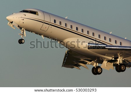 DOMODEDOVO, MOSCOW REGION, RUSSIA - JUNE 20, 2012: Bombardier Global Express taking off at Domodedovo international airport.