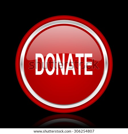 donate red glossy web icon chrome design on black background with reflection