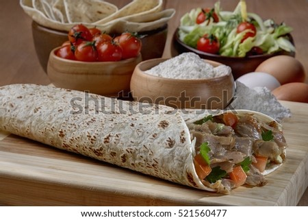 Doner,Turkish Shawarma durum Traditional doner wrap