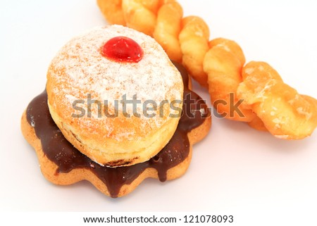 Donuts sweet with sugar including chocolate isolated on white background