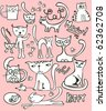 Doodle cat set - for vector see my portfolio - stock vector