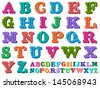 Doodle of a complete retro styled alphabet in caps, written with colorful tones - stock photo