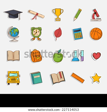 Doodle school icons set.Themed design with different elements:hat graduate,scroll, apple,books,flasks, basketball,alarm clock, briefcase, backpack, school bus,globe,ruler,microscope