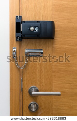 Door lock on wooden door