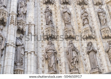 Door of Assumption (Spanish: Puerta de la Asuncion) of the Sevilla Cathedral (Spanish: Catedral de Santa Maria de la Sede) in Spain, main portal of the west facade.