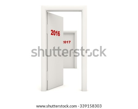 Door with 2016 New Year sign isolated on white
