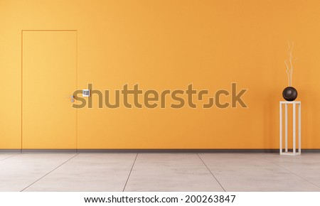 Doors flush with the wall in a empty orange room - rendering