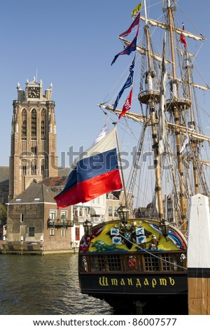 DORDRECHT, NETHERLANDS - OCTOBER 3 : The Russian replica galleon the Shtandart, docked in Dordrecht on October 3, 2011. The ship is on a tour of European cities.