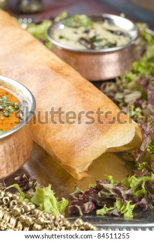 Dosa with Ingredients, South Indian Dish
