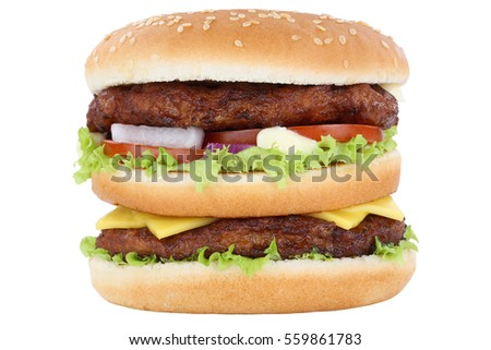 Double burger hamburger tomatoes lettuce cheese isolated on a white background