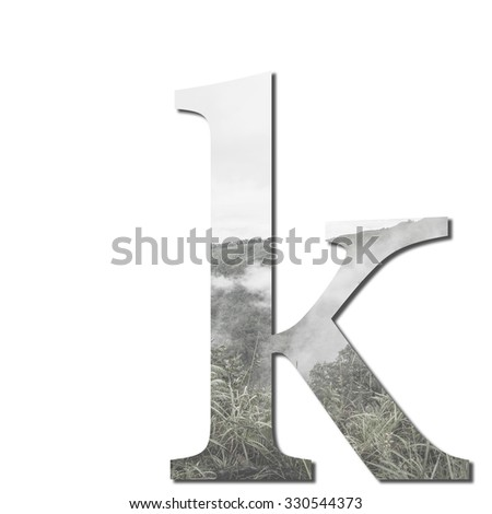 Double exposure Alphabet letter k