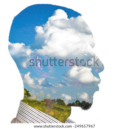 Double exposure of an african-american young business man for ecology concept