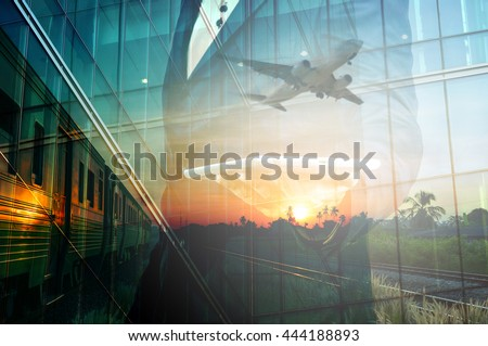 Double Exposure of BusinessMan Hold Tablet and Train, Airplane as Business Transportation, Business Travel or Logistics Concept.