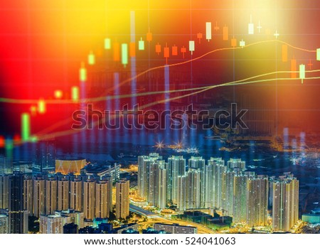 Double exposure of stocks market chart concept with city scape hong kong background