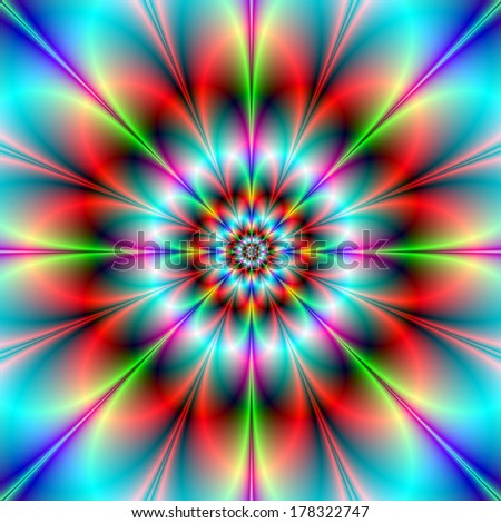 Double Flower / Digital abstract fractal image with an infinity flower design in blue, red, pink and green.