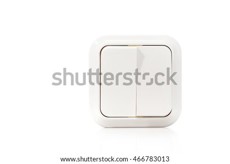 Double wall switch with enabled one button isolated on white background