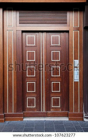 Double wooden door luxury entrance in building