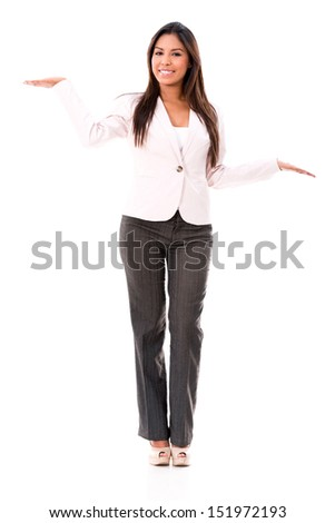 Doubtful business woman holding things in her hands - isolated over white