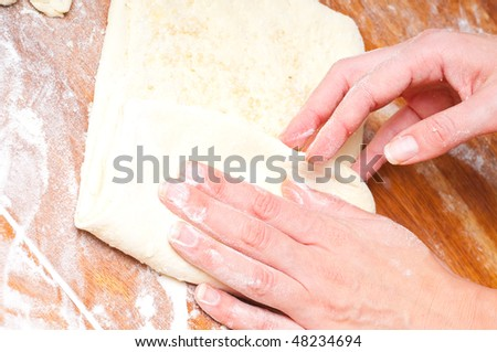 dough on a wooden board