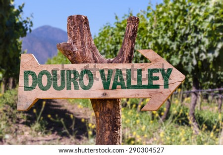 Douro Valley wooden sign with winery background
