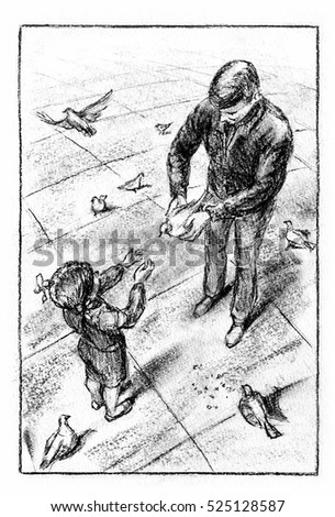 Doves on the square. Man keeping a bird in his hands, giving it to his daughter. Charcoal drawing.