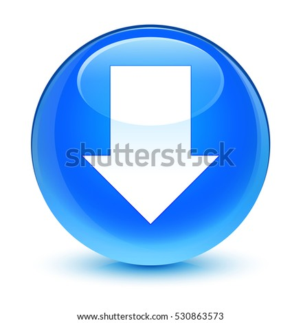 Download arrow icon glassy cyan blue round button