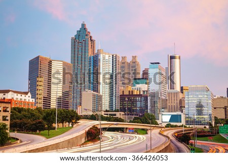 Downtown Atlanta, Georgia at the sunset time