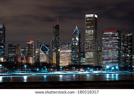 Downtown Chicago Illinois Skyline at Night Time