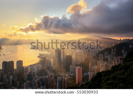 Downtown cityscape from top view of mountain in Hong-kong