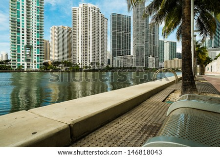 Downtown Miami along the Miami River inlet with Brickell Key in the background.