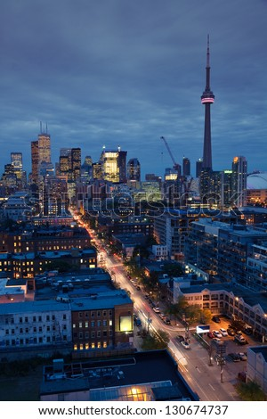 Downtown Toronto skyline at night