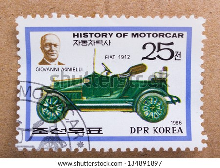 DPR KOREA - CIRCA 1968: A stamp printed in DPR Korea shows Giovanni Agnielli  and car Fiat Model  from 1912, circa 1968