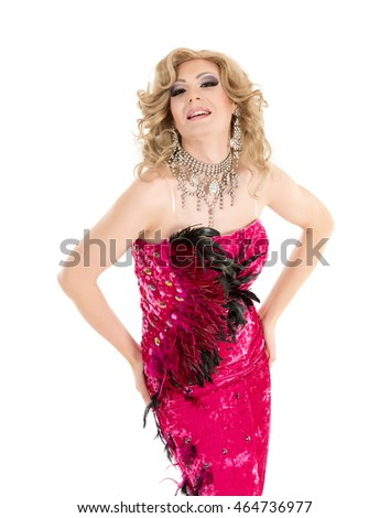 Drag Queen in Red Evening Dress Performing, on white background