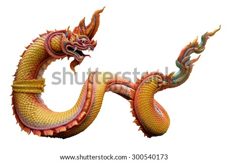 Dragon sculpture Isolated on White background