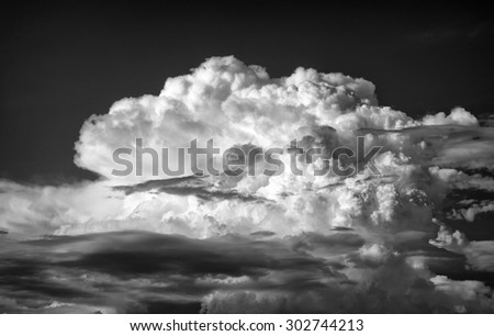 Dramatic Black and White of Thunderhead Cumulus Clouds over Mt. Baldy California