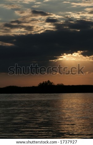 Dramatic Sunset reflection on the Danube River