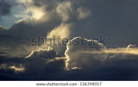 Dramatic winter sky with beautiful clouds and light