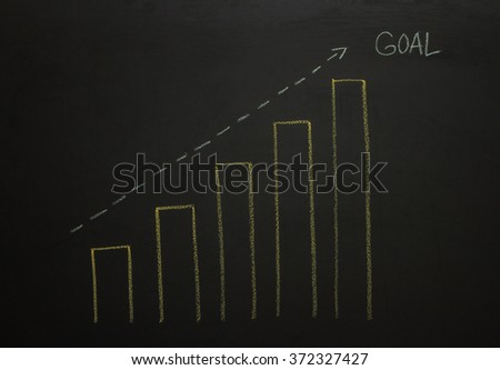 Drawing business concept idea on black board background.