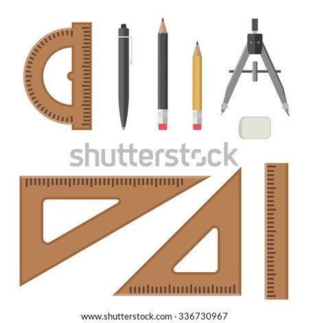 Drawing Equipment Flat Style Architectural Workplace Stock Vector