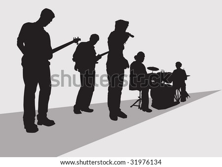 drawing music rock band concert stage is not