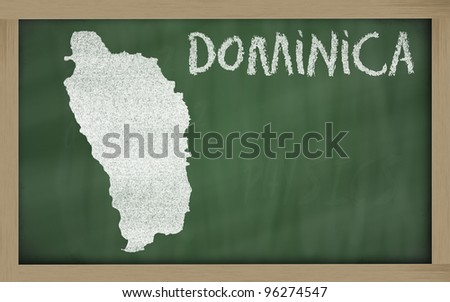 drawing of dominica on blackboard, drawn by chalk